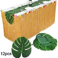 Falda de Mesa + 12 pcs Hojas Artificiales de Palmeras Tropicales Monstera + 8 Velcro Adhesivo + 12 Puntos Adhesivos para Decoración de Fiesta Luau Hawaiana de Verano Tropical Playa Jardín