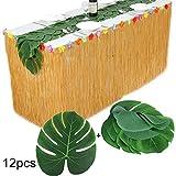JNCH 275 * 75cm Gonna Tavolo + 12 pz Foglie Palma Artificiali Hawaiana Decorazioni Compleanno Feste Giardino Party Nozze Ristoranti Barbecue Spiagga ( Include Nastro Biadesivo )
