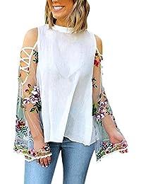 Cinnamou Blusa para Mujer, Camisasa de Chiffon Fiesta Verano Manga Larga en Bordado Flores,