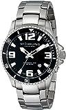 Stuhrling Original Men's 395.33B11 Regatta Champion Quartz Watch with Black Dial Analogue Display and Silver Stainless Steel Bracelet