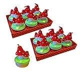 Kaltner Präsente Geschenkidee - Teelicht Kerze Fliegenpilz Set mit 12 Stück in Geschenkbox