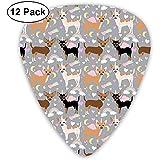 Chihuahua Dogs Pastel Unicorn Fabric Perros y diseño de unicornios - Púas de guitarra gris, púas de guitarra 12 piezas