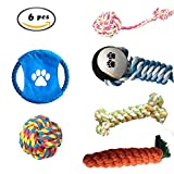 Aidle 100% Natural de Cuerda de Algodón Durable Play Squeaky Ball Masticar y el entrenamiento de juguete, Set para los perros pequeños a medianos - Juego de regalo de 6 paquetes