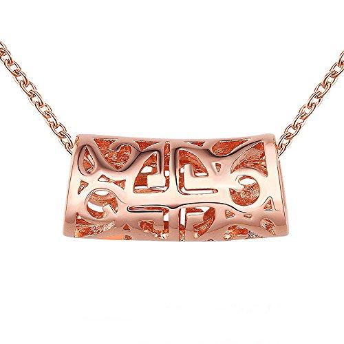 Collana da donna stile obiettivo 18 K placcato oro con ciondolo a forma di tubo rosso 45 cm 1493
