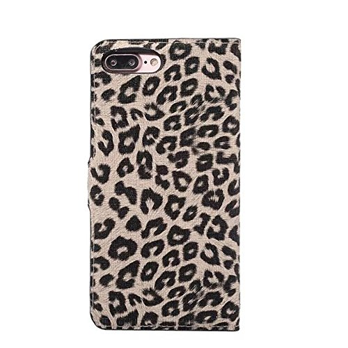 JIALUN-Telefon Fall für iPhone 7 Plus, Leopard Texture Magnetische Schnalle Horzontal Flip Stand Case Cover mit Card Slots ( Color : Gray ) Gold