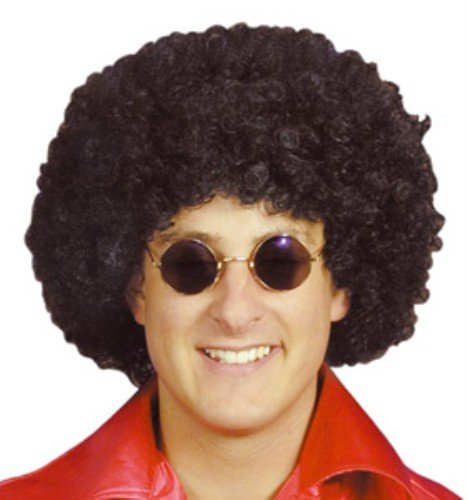BLACK POP WIG Curly Afro 70s Scouse Fancy Dress Costume