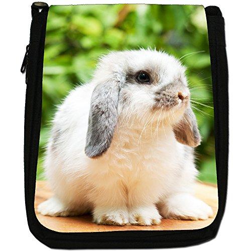 Peluche conigli-Borsa a tracolla in tela, colore: nero, taglia: M Nero (Cute Lop Rabbit)