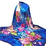 YunYoud Damen Drucken Hijab Schals Frau Schön Lange Wickelschal Seide-Satin Platz Schal Weich Schal Super Komfortabel Schals (140*140CM, Blau)