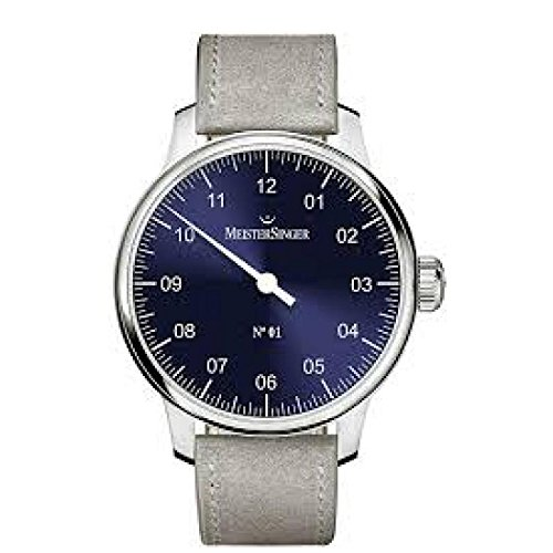 MeisterSinger Men Clock am3308 Breaker Steel quandrante Blue Leather Strap
