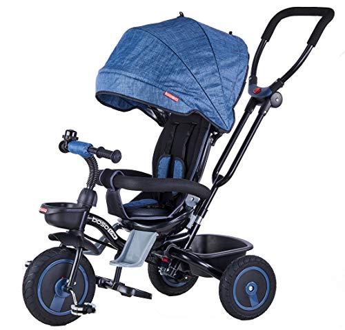 Mondial Toys Triciclo Passeggino Pieghevole 4 in 1 con SEGGIOLINO Reversibile MANIGLIONE DIREZIONABILE Ruote in Gomma CAPPOTTINA Parasole Blu