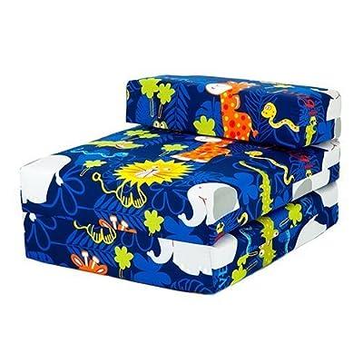 Jungle Fever Animals Print Children's Single Fold Out Foam Z Bed Guest Mattress Chair Bed