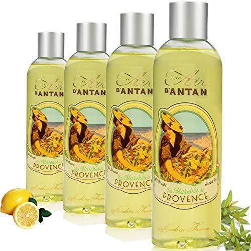 Un Air d'Antan 4er Set (1 GRATIS) - Duschgel Provence mit Bio Verbena - Parfum Verbena, Bergamotte, Zitrone - Effektiv Reinigend, Belebendes Effekt - Für Männer/Frauen - Angebote 4er Pack (4x250ml) -
