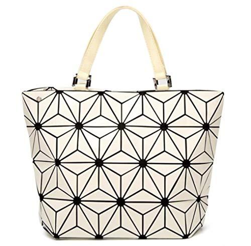 Screenes Falttasche Umhängetasche Umhängetasche Glänzendes Gesicht Dreieck Beuteltasche Japanische Art Handtasche Einfacher Stil Handtasche, (Color : Weiß, Size : L)