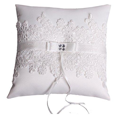 Hochzeit Ringkissen Kissen with Embroider Flower and Mesh 21cm*21cm---Ivory