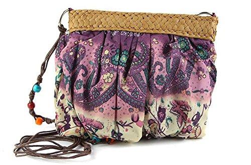 Crossbody Strohbeutel Stickerei Stitching Handtaschen Farbe Outdoor gewebte Frauen Strick Tasche Freizeit Reise Strandtasche Purple