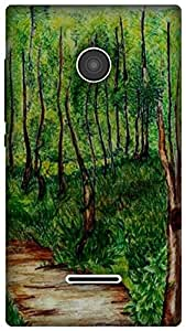The Racoon Lean #trees hard plastic printed back case for Microsoft Lumia 435