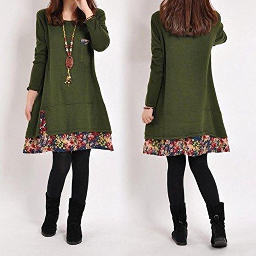Minetom Femme Robe Manches Longues Encolure Ras Du Cou Robe Pull Tricoter Imprimé De Fleurs Vert