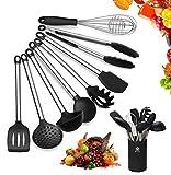 Juego de utensilios de cocina con soporte, 8 piezas, utensilios de cocina, utensilios de cocina de silicona con soporte, utensilios de cocina de goma para cocinar