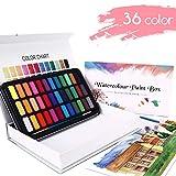 WOSTOO Aquarellfarben-Set mit 50 Verschiedenen Aquarellfarbkasten Hochwertiges Aquarell-Farben-Set 2 Pinsel,36 lebendige Farben,2 Wassertankpinsel,10 Aquarellpapier-Malkasten für Anfänger und Profis