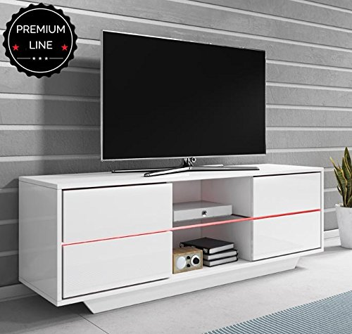 Mueble TV Priot (130cm) blanco lacado alto brillo entero con LED RGB