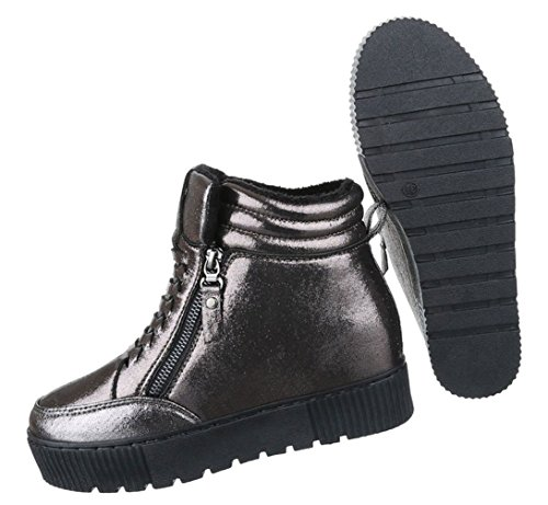 Damen Freizeitschuhe Schuhe Keilabsatz Stiefelette Wedges Sneaker Schwarz Grau 36 37 38 39 40 41 Grau