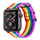 Bandmax Compatible Rainbow Apple Watch Bands LGBT, Comfortable&Durable iwatch Sport Straps Nylon Replacement Wristband Accessories Compatible Apple Watch Series 4/3/2/1 38MM 40MM (Black Metal Buckle)