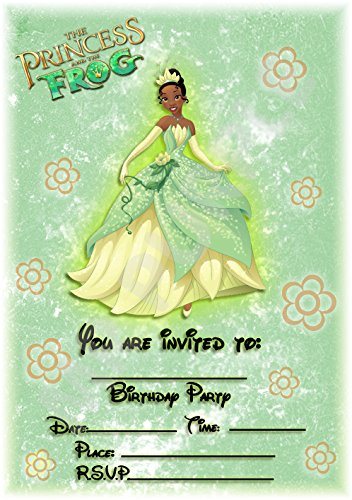 Disney Princess und der Frosch Geburtstag Party lädt-Design Floral Portrait-Party Supplies/Zubehör (12Stück A5Einladungen) WITHOUT Envelopes