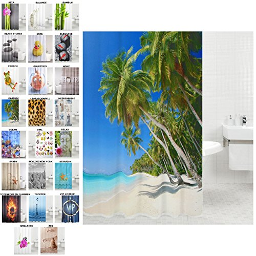 Duschvorhang, viele schöne Duschvorhänge zur Auswahl, hochwertige Qualität, inkl. 12 Ringe, wasserdicht, Anti-Schimmel-Effekt (Karibik, 180 x 200 - Palme Duschvorhänge