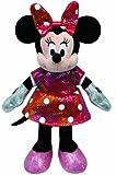 TY 41080 - Disney - Minnie Glitter mit Sound, regenbogens glitzerndes Kleid und Schleife, 20 cm
