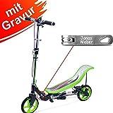 Space Scooter X 590 Premium grün MIT Gravur - für Kinder und Erwachsene bis 120 kg mit 3-Stufen Höhenverstellung - inkl…