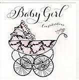 """Wendy Jones-Blackett Fresco Glückwunschkarte zur Geburt """"Baby Girl Congratulations"""" - veredelt durch Prägung und Folienauflage WJ218"""