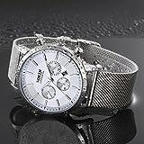 Sansee Kalender Quarz Armbanduhr Edelstahl Armband Herren Uhr-NORTH Männer drittes Grad wasserdichtes Netz mit Quarzuhr N-6009 (Weiß)