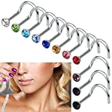 Rbenxia Nose Studs Rings Rhinestone Steel Nose Piercing Ring Color Random (10pcs)