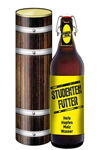 Studenten Futter Pils 1 Liter Bier Flasche mit Bügelverschluss (mit Geschenkdose im Holzdesign)