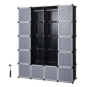 Songmics xxl armoire etag re de rangement en plastique for Grande armoire noire