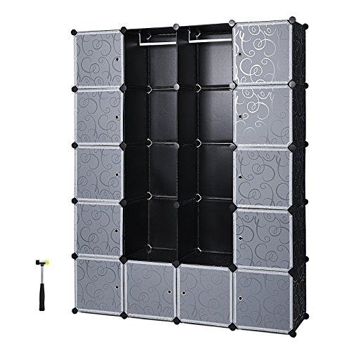 Songmics LPC30H Kleiderschrank Garderobenschrank Steckregalsystem mit 2 Kleiderstange, Plastik, schwarz, 143 x 178 x 36 cm