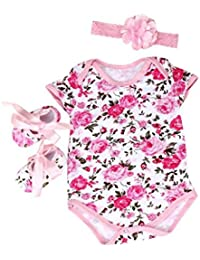 Internet 3pcs Bébé fille Floral barboteuse Body vêtements ensembles + Chaussures + Bandeau