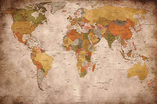 Weltkarte Wanddekoration Vintage - Wandbild Retro Motiv XXL Poster worldmap by GREAT ART (140 x 100 cm) (Große Weltkarte)
