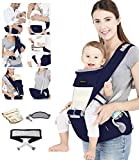 Azeekoom Baby Carrier, Ergonomic Hip Seat, Baby Carrier Sling with Fixing Strap, Bibs, Shoulder Strap, Head Hood for Newborn to Toddler from 0-36 Month