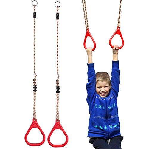 nder-Trapeze Pull Up Gym Ringe für Kinder Spielplatz-Schaukel-Übungen, Fitness Indoor-Geräten, rot ()