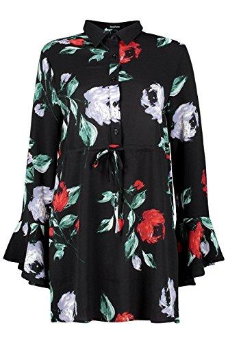 Noir Femmes robe chemise à manches flûte nouée à la taille Joanne Noir
