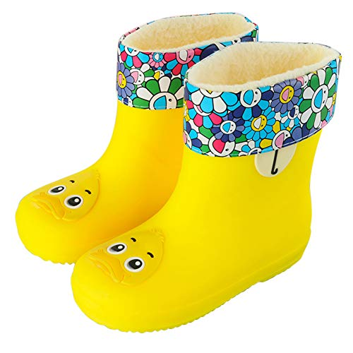Toddler Kids Wellington Boots Warm Waterproof Lightweight Cartoon Funny Easy-On Water Shoes Detachable Cotton Lined Candy Color Winter Snow Boots