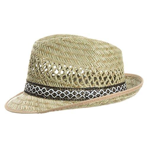 Unbekannt Erntehelfer Strohhut (Sonnenschutz) für Damen und Herren, cooler und modischer Sonnenhut im Trilby Look für den Sommer am Strand oder im Urlaub, Größe 61, Farbe natur -