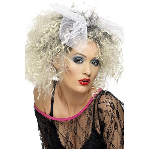 NET TOYS Blonde Lockenperücke 80er Jahre Perücke mit Schleife Madonna Damenperücke Locken Engelsperücke Punk Engel Faschingsperücke Rock Mottoparty Karnevalsperücke Karneval Kostüm Damen Zubehör