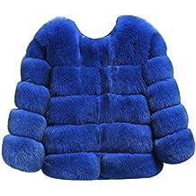 LaoZan Donna Caldo di Lusso Faux Pelliccia di Volpe Cappotto Corto - Blu  Zaffiroe - Large a41dce9e2ab