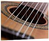 Pixxprint Gitarrensaiten, MDF-Holzbild im Bretterlook Format: 80x60cm, Wanddekoration