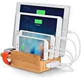 Merit Bamboo 5-Port USB Charging Station with Apple Watch Stand Multi-Device Desk Organizer Charging Dock Holder for iPhones, iPads, Nexus, Galaxy, and Other Smartphones and Tablets