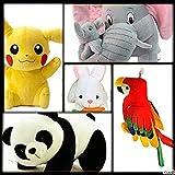 god Gift: Combo 5 pics animale Soft Toys Set Elephant 40cm with 2 Baby , Rabbit 30cm , Panda 30cm , Pikachu 30cm , Parrot 35