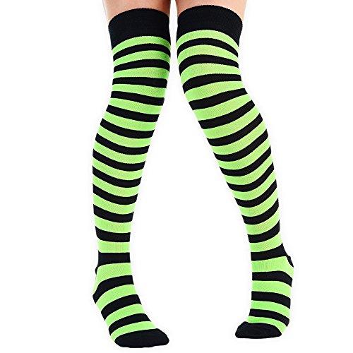 Damen Uni über das Knie Socken & Full Streifen über das Knie Socken, Schwarz / Grün, UK 4-6.5