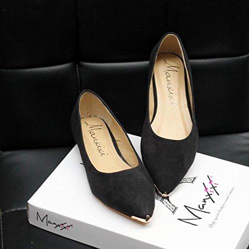 LvYuan-mxx Chaussures plates pour femmes / Printemps été automne / Décontracté / Suède léopard / talons plats pointu orteil / Bureau et carrière Robe / bouche superficielle chaussures BLACK-36